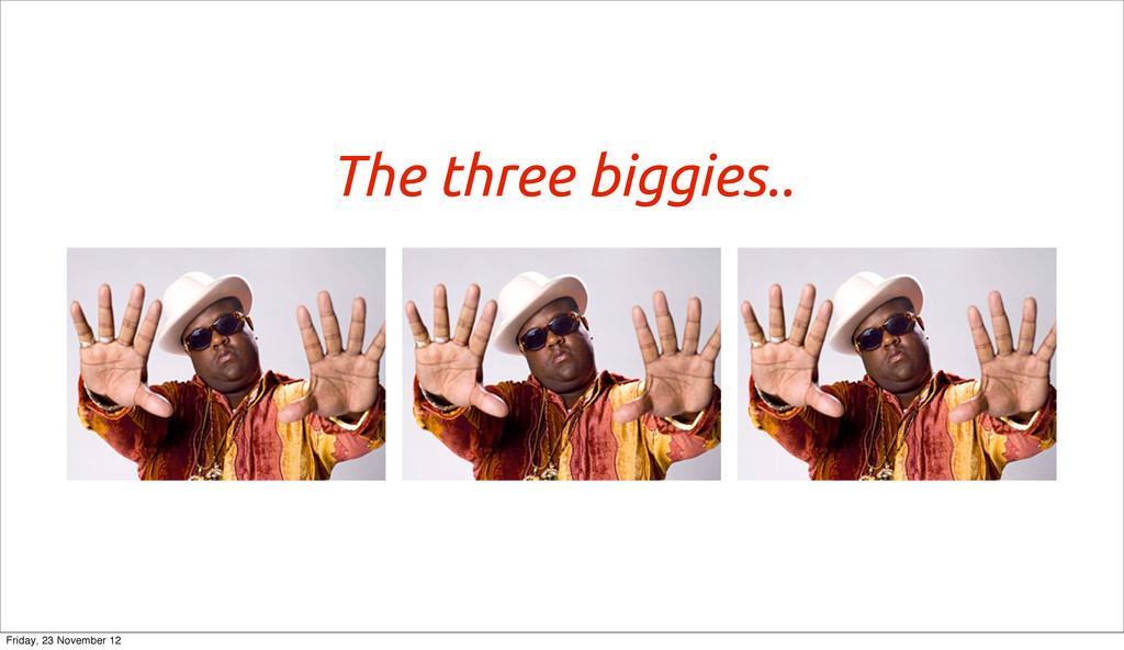 The three biggies.. Friday, 23 November 12