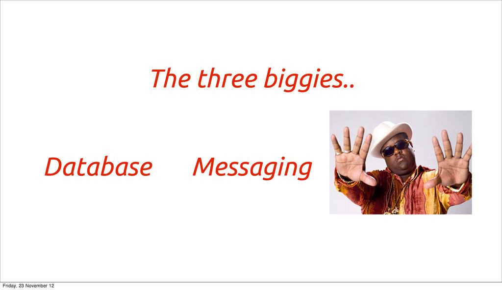 The three biggies.. Database Messaging Friday, ...