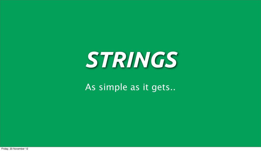 STRINGS As simple as it gets.. Friday, 23 Novem...