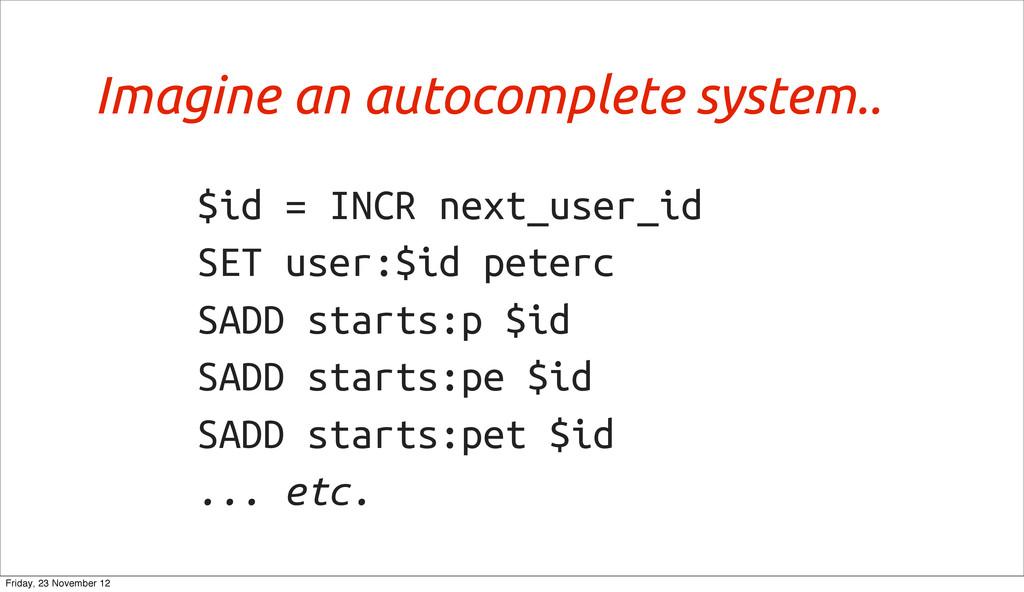 $id = INCR next_user_id SET user:$id peterc SAD...