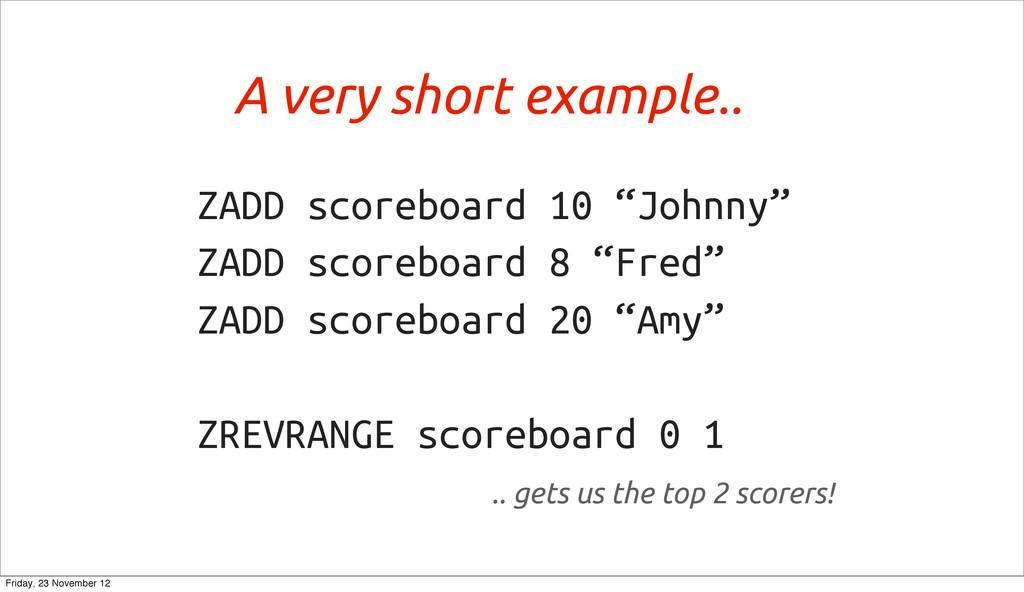 """ZADD scoreboard 10 """"Johnny"""" ZADD scoreboard 8 """"..."""