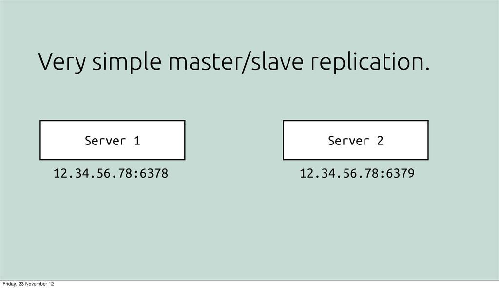 Very simple master/slave replication. Server 1 ...