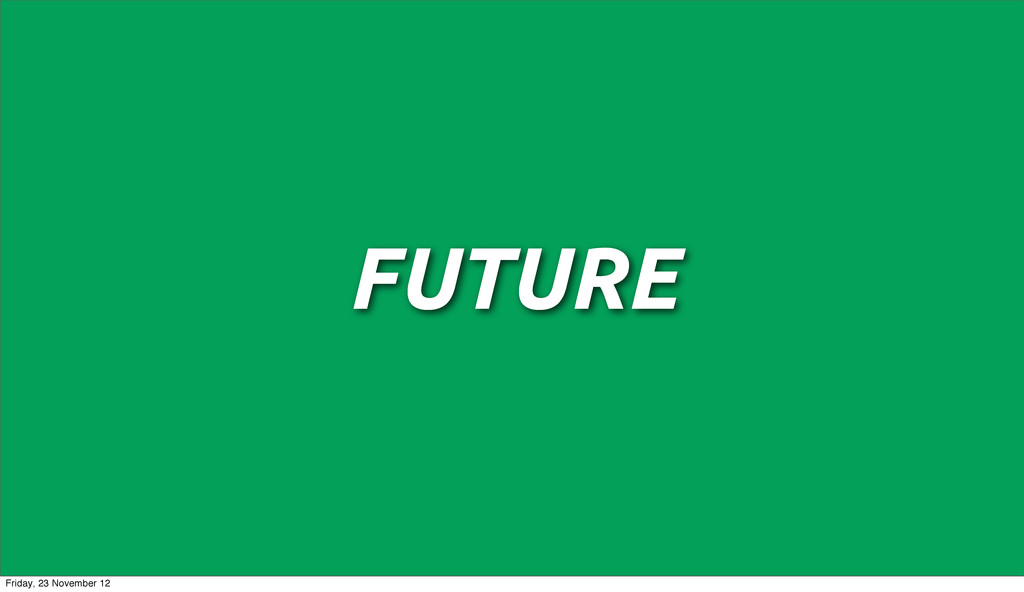 FUTURE Friday, 23 November 12