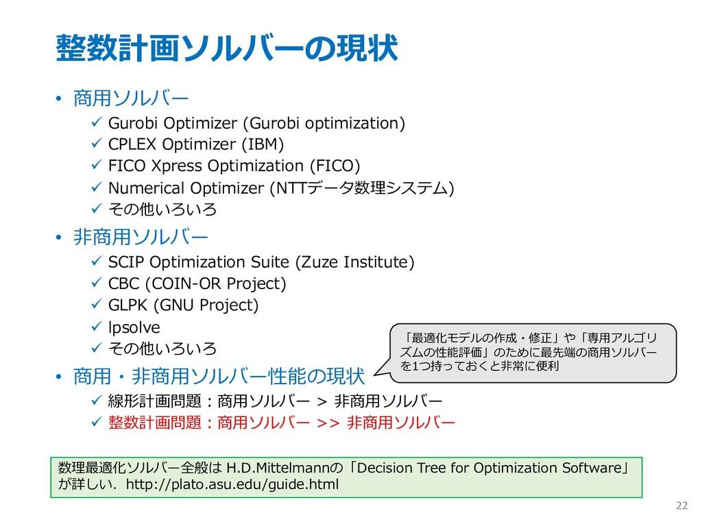 整数計画ソルバーの現状 • 商⽤ソルバー ü Gurobi Optimizer (Gurobi...