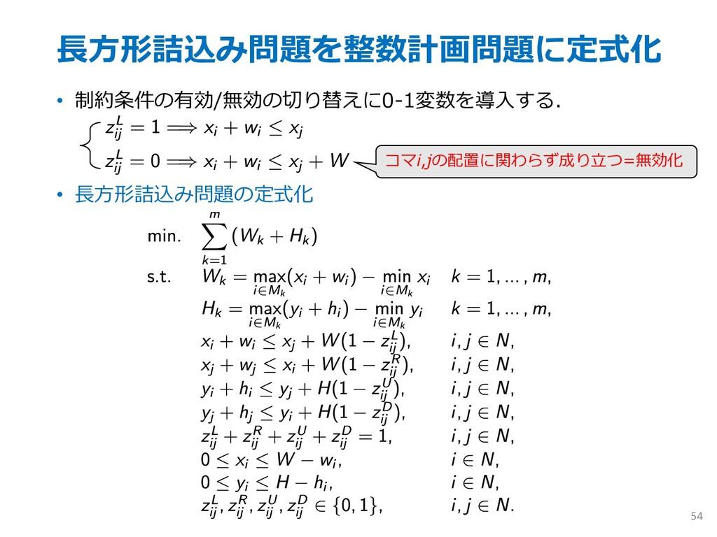 ⻑⽅形詰込み問題を整数計画問題に定式化 • 制約条件の有効/無効の切り替えに0-1変数を導⼊す...