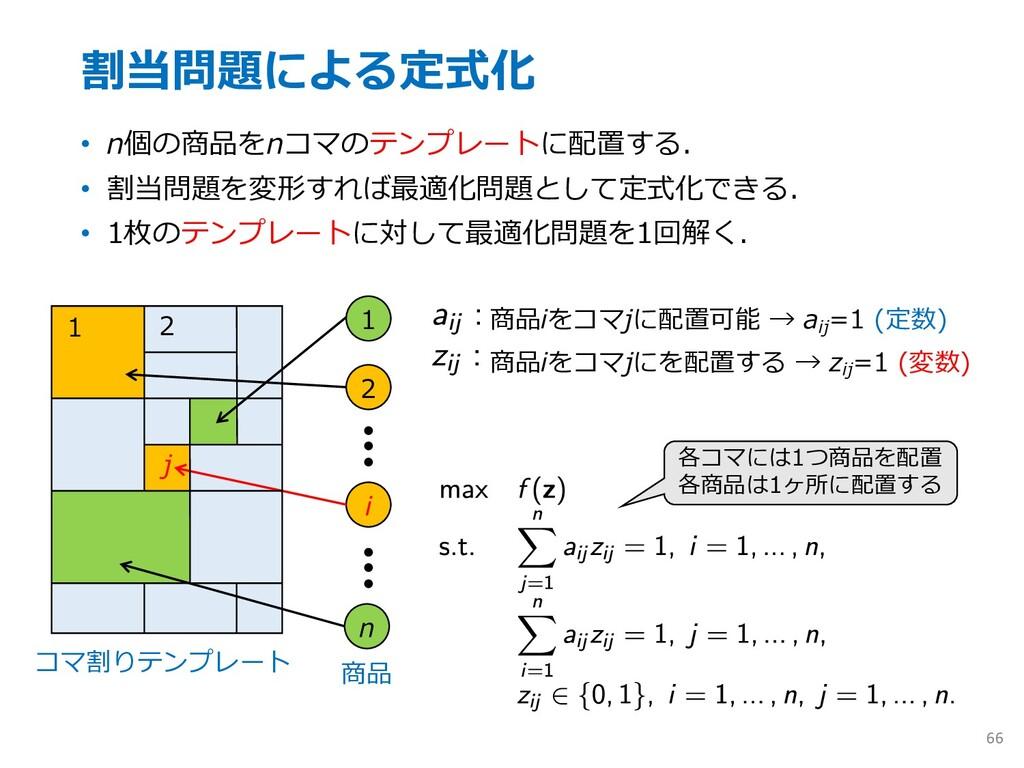 割当問題による定式化 • n個の商品をnコマのテンプレートに配置する. • 割当問題を変形すれ...