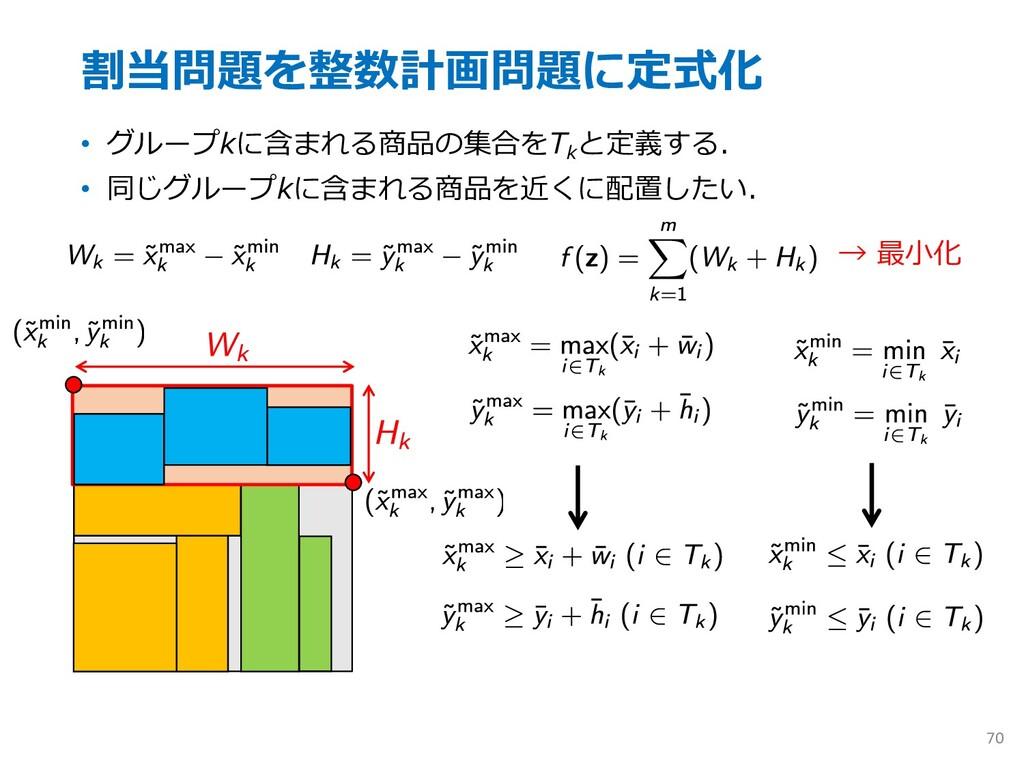 割当問題を整数計画問題に定式化 • グループkに含まれる商品の集合をTk と定義する. • 同...