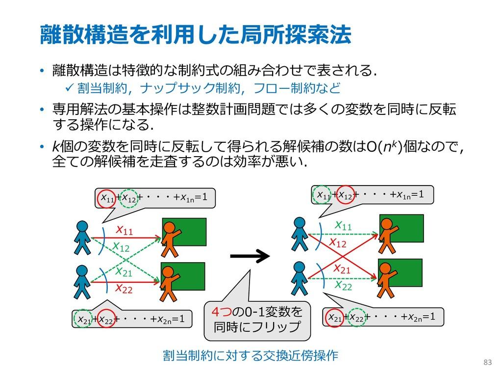 離散構造を利⽤した局所探索法 • 離散構造は特徴的な制約式の組み合わせで表される. ü 割当制...
