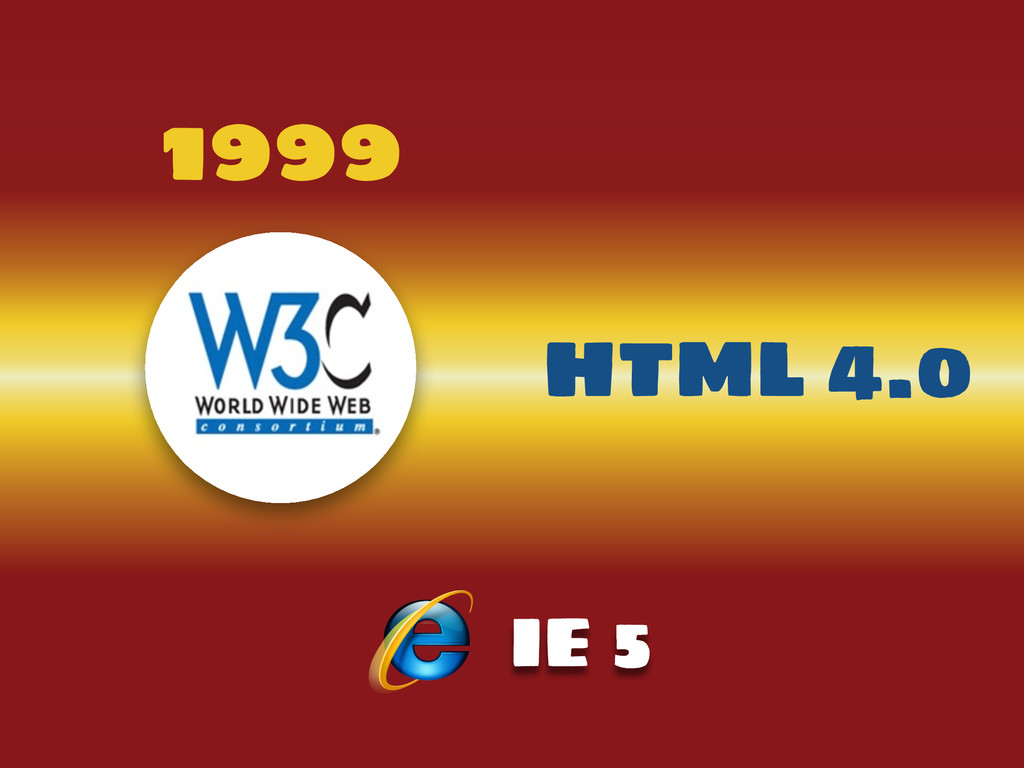 1999 HTML 4.0 IE 5
