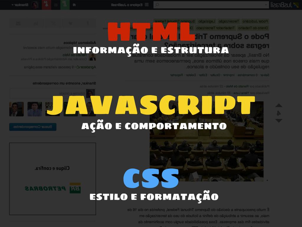 HTML JAVASCRIPT CSS informação e estrutura ação...