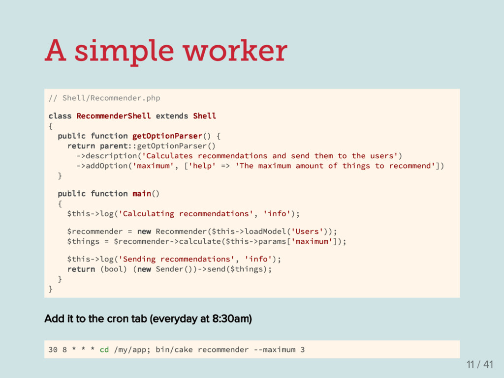 A simple worker // Shell/Recommender.php class ...