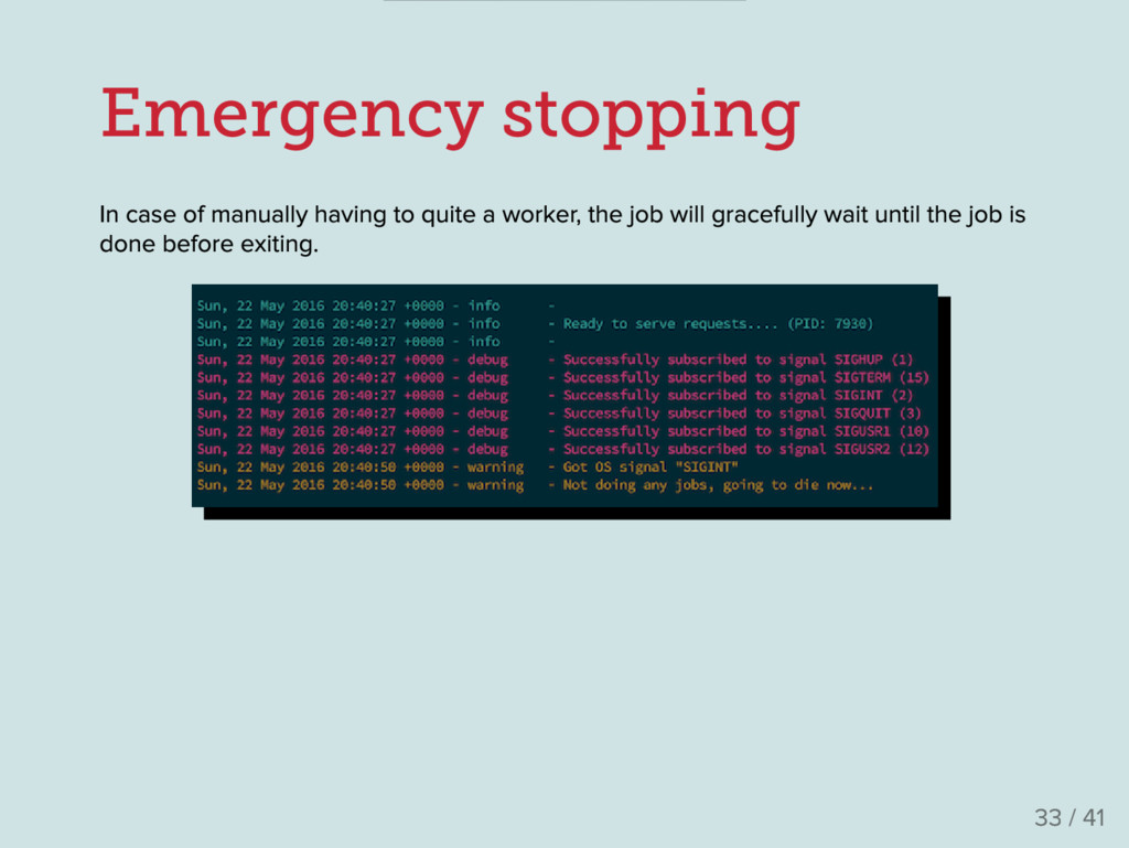 Emergency stopping In case of manually having t...