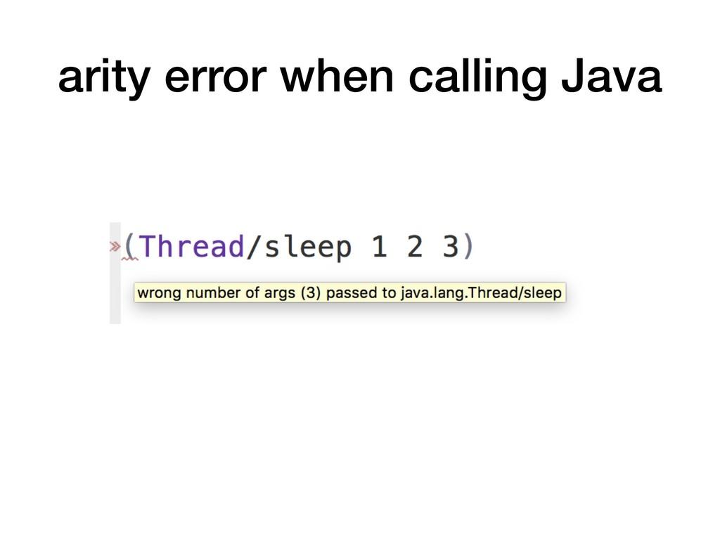 arity error when calling Java