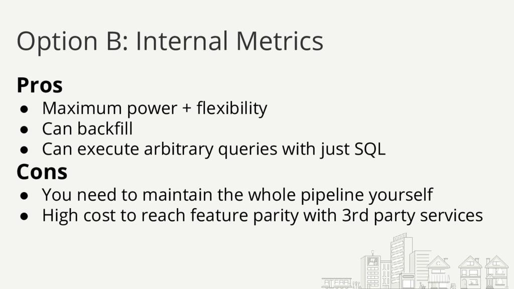 Option B: Internal Metrics Pros ● Maximum power...