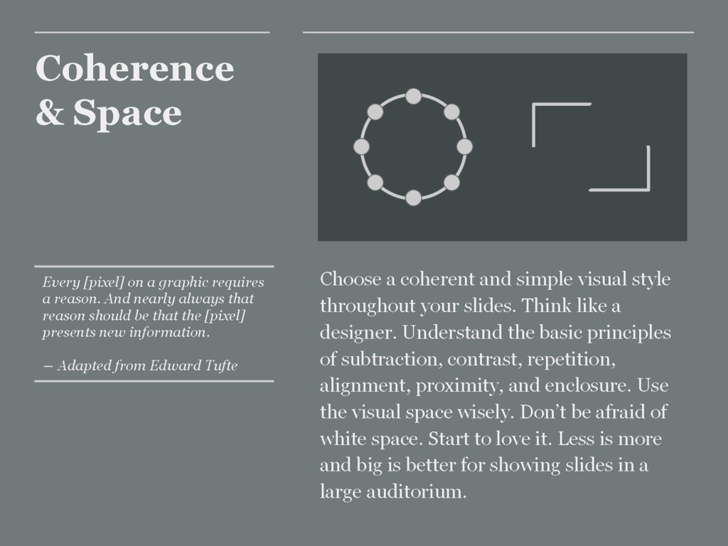 Coherence & Space Choose a coherent and simple ...