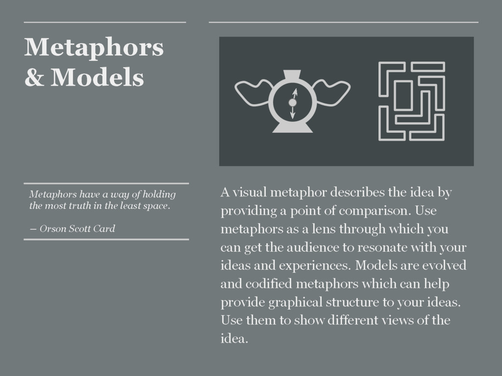 Metaphors & Models A visual metaphor describes ...