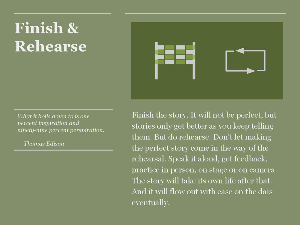 Finish & Rehearse Finish the story. It will not...
