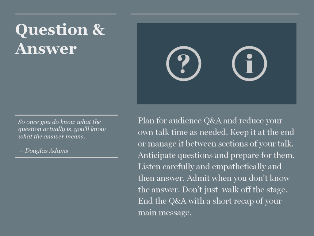 Question & Answer Plan for audience Q&A and red...