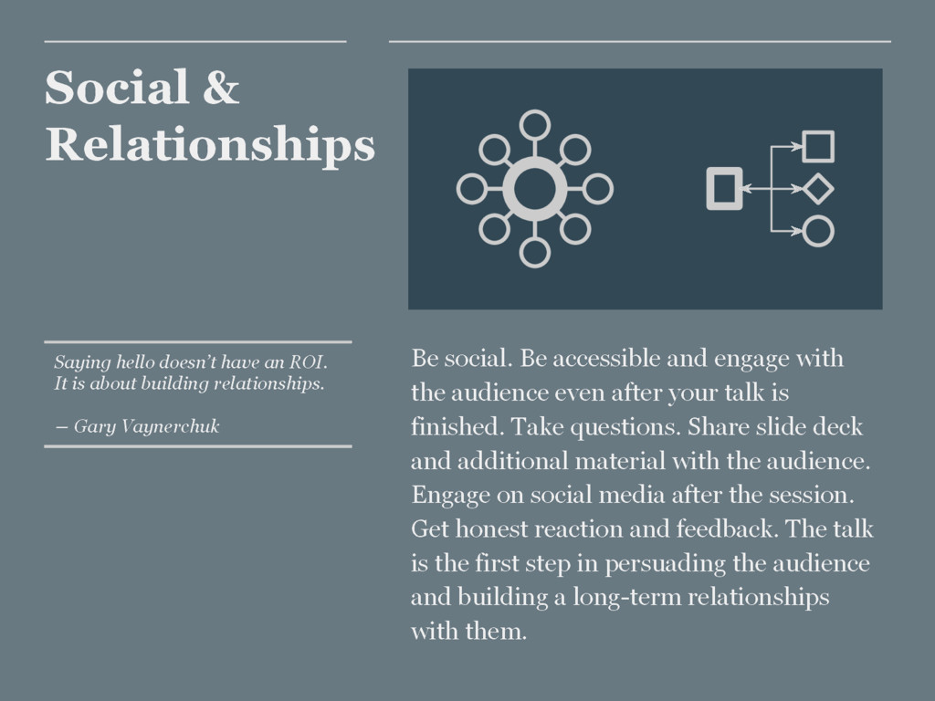 Social & Relationships Be social. Be accessible...