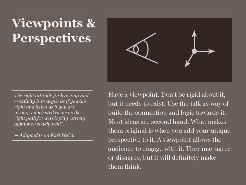 Viewpoints & Perspectives Have a viewpoint. Don...