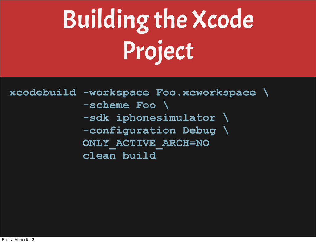Building the Xcode Project xcodebuild -workspac...