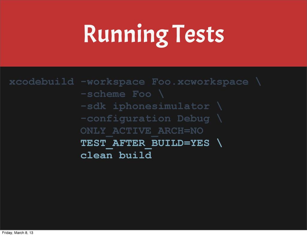 Running Tests xcodebuild -workspace Foo.xcworks...