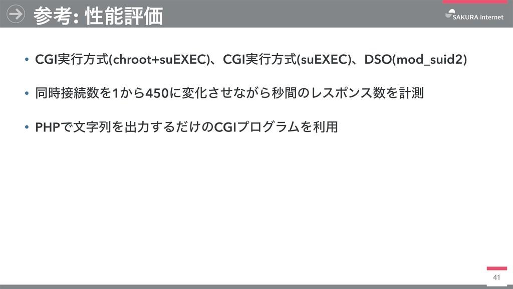 41 • CGI࣮ߦํࣜ(chroot+suEXEC)ɺCGI࣮ߦํࣜ(suEXEC)ɺDSO...