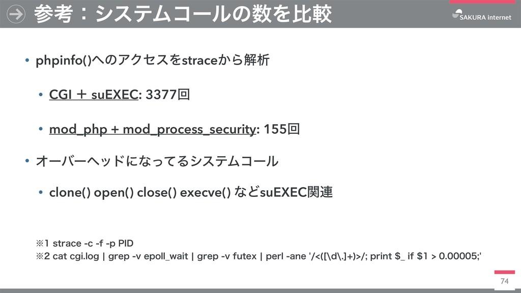 74 • phpinfo()ͷΞΫηεΛstrace͔Βղੳ • CGI ʴ suEXEC:...