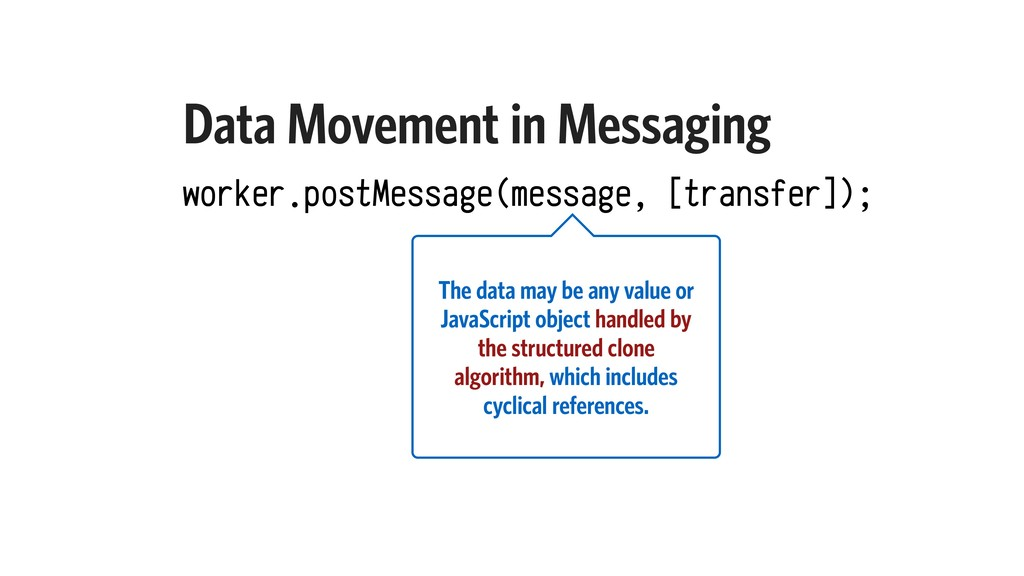 Data Movement in Messaging worker.postMessage(m...