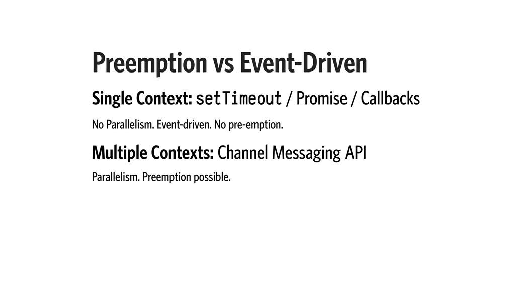 Preemption vs Event-Driven Single Context: setT...