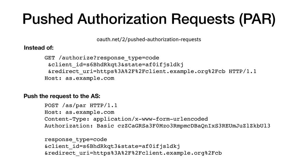 Pushed Authorization Requests (PAR) GET /author...