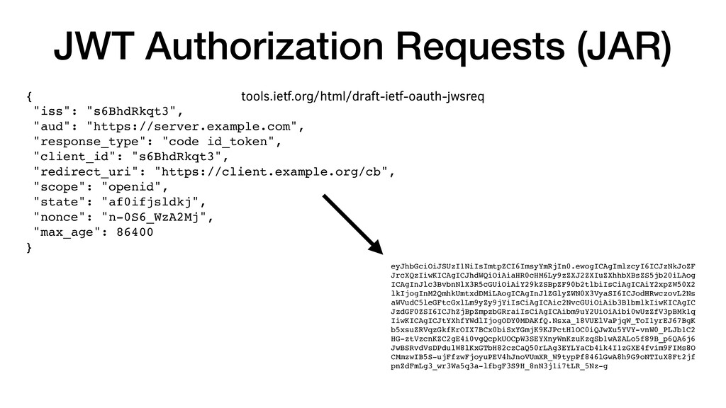 "JWT Authorization Requests (JAR) { ""iss"": ""s6Bh..."