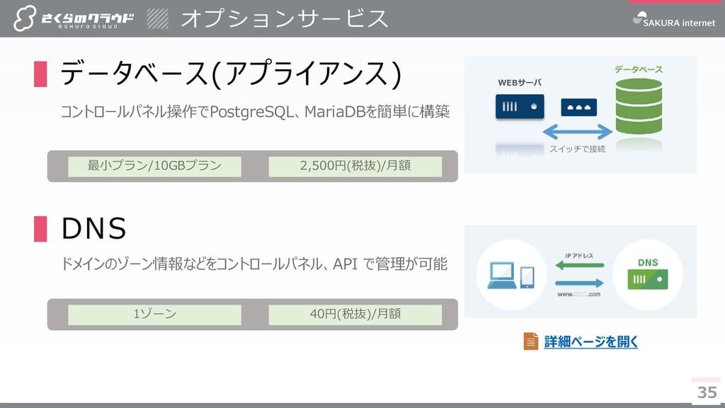 35 35 ▌データベース(アプライアンス) コントロールパネル操作でPostgreSQL、M...