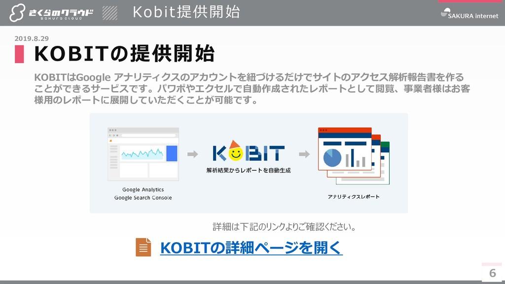 6 KOBITはGoogle アナリティクスのアカウントを紐づけるだけでサイトのアクセス解析報...