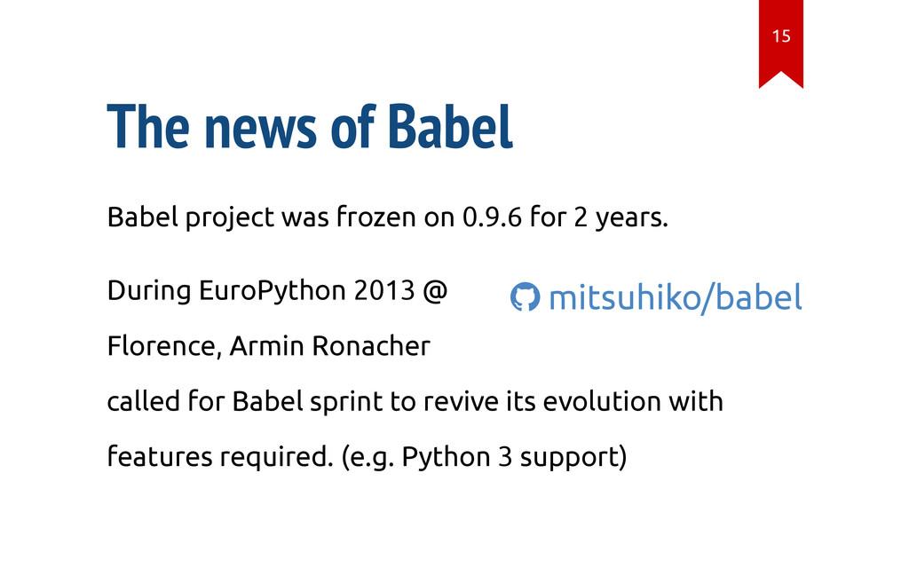  mitsuhiko/babel The news of Babel Babel proje...