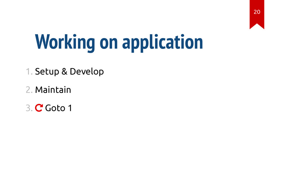 Working on application 1. Setup & Develop 2. Ma...