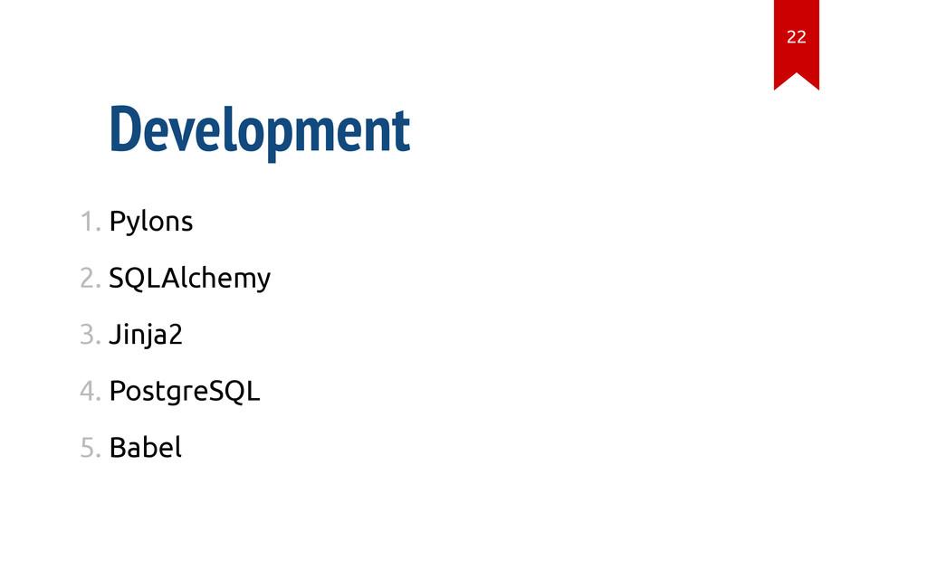 Development 1. Pylons 2. SQLAlchemy 3. Jinja2 4...