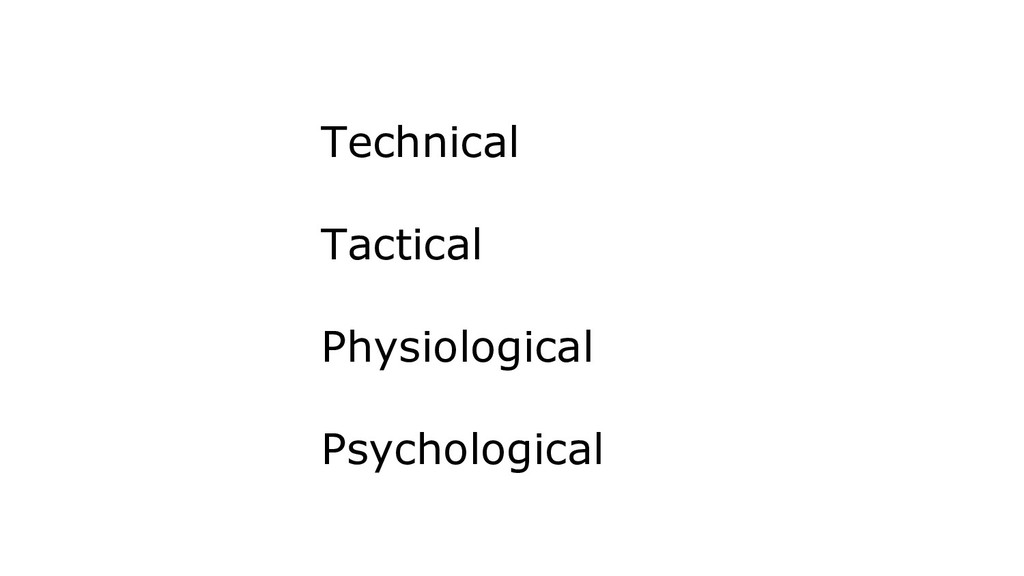 Technical Tactical Physiological Psychological