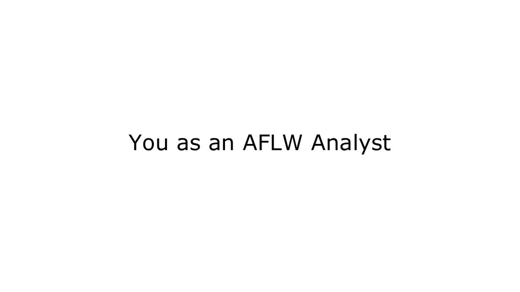 You as an AFLW Analyst