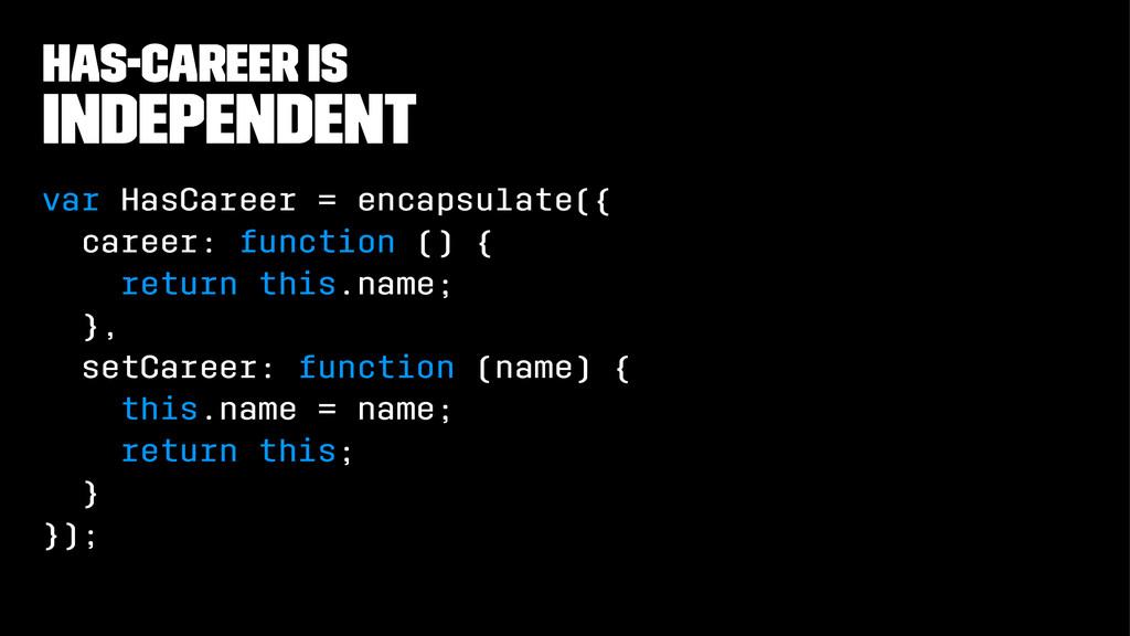 has-career is independent var HasCareer = encap...