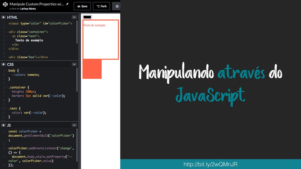 Manipulando através do JavaScript http://bit.ly...