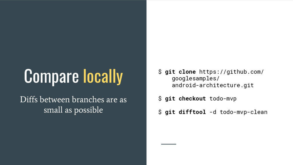 Compare locally Diffs between branches are as s...