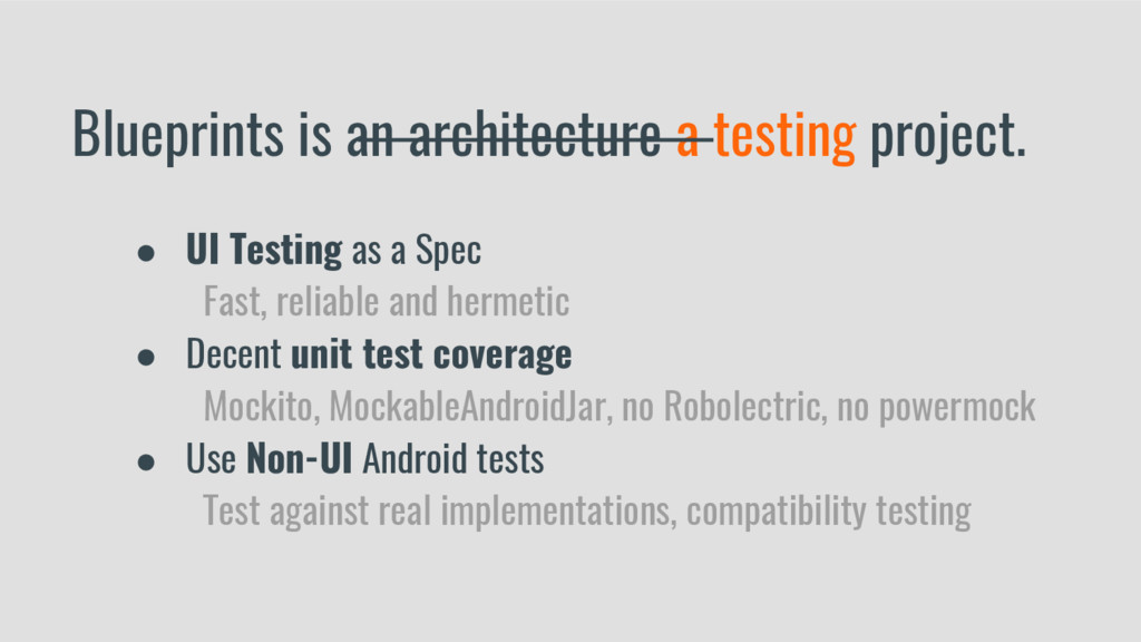 Blueprints is an architecture a testing project...