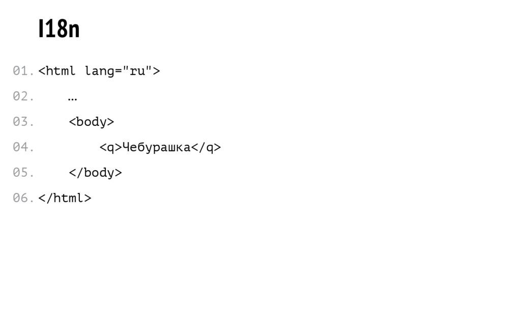 "I18n <html lang=""ru""> … <body> <q>Чебурашка</q>..."