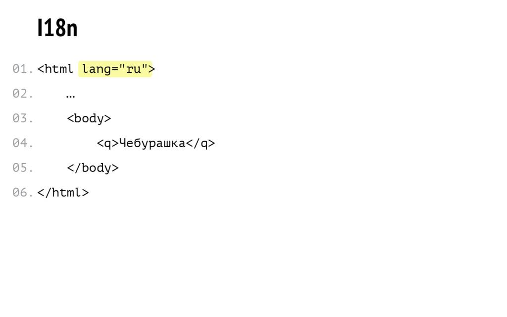 "lang=""ru"" I18n <html > … <body> <q>Чебурашка</q..."