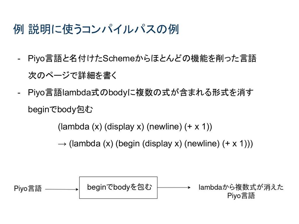 例 説明に使うコンパイルパスの例 - Piyo言語と名付けたSchemeからほとんどの機能を削...