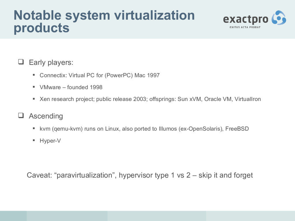 Notable system virtualization products  Early ...