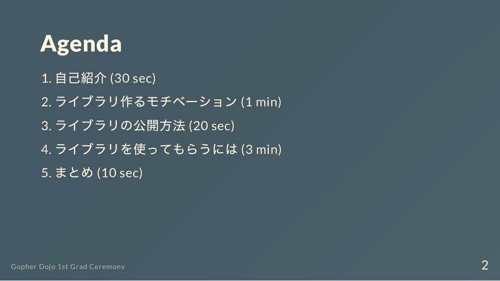 Agenda 1. 自己紹介 (30 sec) 2. ライブラリ作るモチベーション (1 mi...
