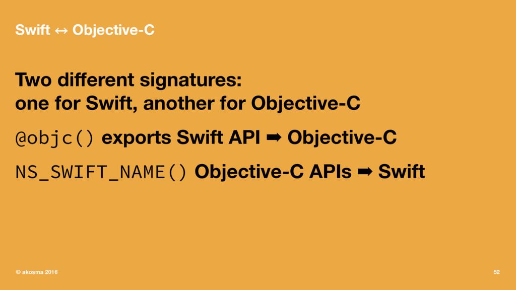 Swift 㲗 Objective-C Two different signatures: on...