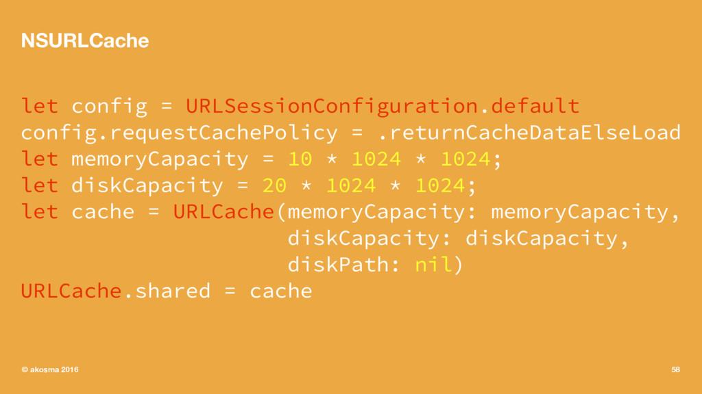 NSURLCache let config = URLSessionConfiguration...